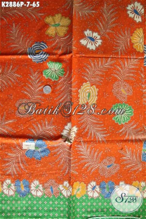 Jual Bahan Kain Printing jual kain batik warna orange motif bunga proses