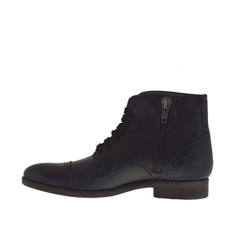 High Laced Shoes by S Ankle High Laced Shoe With Zipper In Black Leather