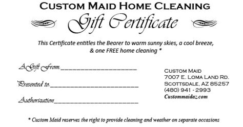 house cleaning gift certificate template 7 best images of printable house cleaning certificate