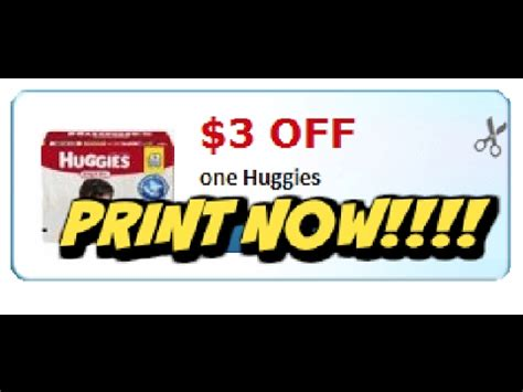 printable huggies coupons 3 off new printable huggies 3 1 coupon get yours now youtube