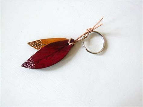 Handmade Key Fobs - autumn leaves leather key ring key fob handmade in uk