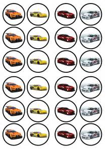 race cars edible premium wafer paper cupcake toppers