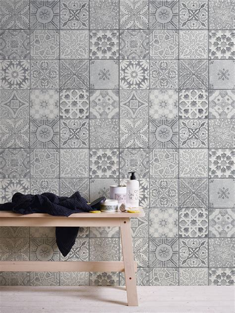 fliese patchwork wallpaper neue bude 2 0 mosaic tiles design grey white 36205 3