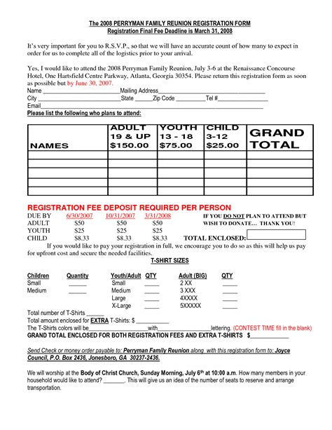 Family Reunion Registration Packet Family Reunion Registration Form Sles Family Reunion Program Registration Form Template