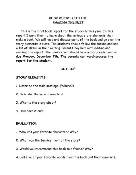 7th grade book report outline best photos of book report outline template biography