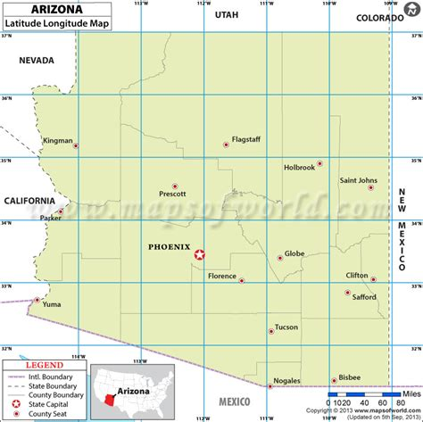 latitude longitude map usa arizona latitude and longitude map