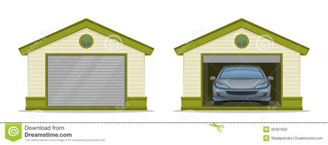 garage cartoon garage with car stock vector image of outdoor building