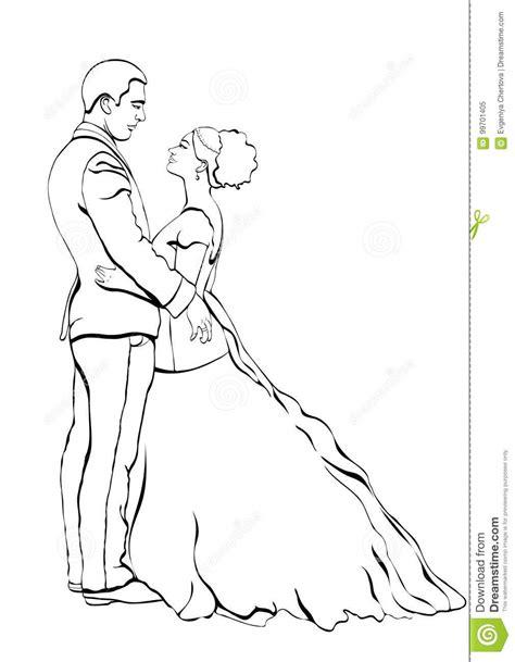 La Sposa E Lo Sposo Descrivono Il Fumetto, Disegno Di