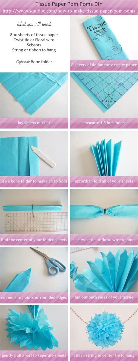 How To Make Pom Poms Tissue Paper - how to make tissue paper pom pom step by step diy go to