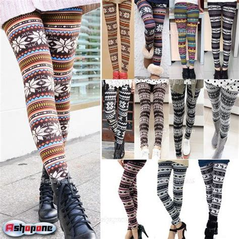 nordic pattern sweater leggings details about new women s nordic deer snowflake knitted