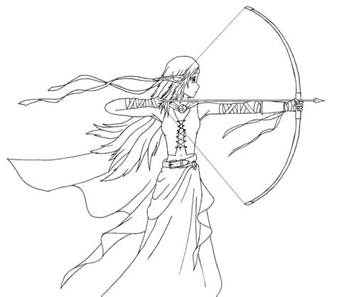 girl bow coloring page elven archer by shinto of justice on deviantart