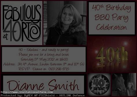 40th birthday invitation exle 40th birthday invitations printable free invitations ideas