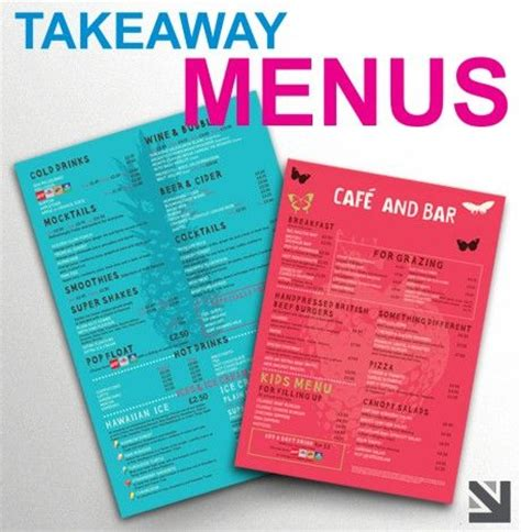 takeaway menu templates 18 best images about menu on