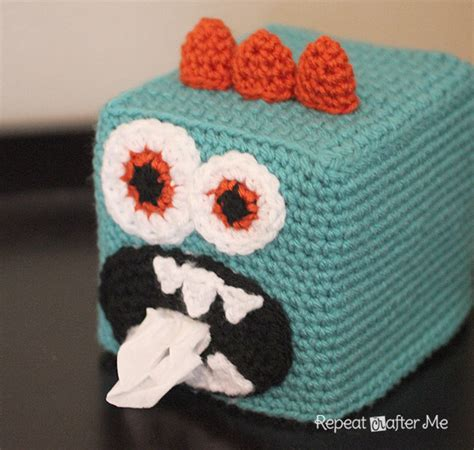 tissue holder pattern free crochet monster kleenex box cover repeat crafter me