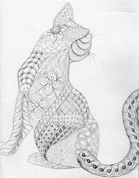 zen cat coloring page cat abstract doodle zentangle zendoodle paisley coloring