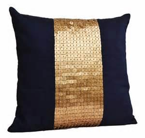 Navy And Gold Throw Pillows Throw Pillows Navy Blue Gold Color Block In Silk Sequin Bead