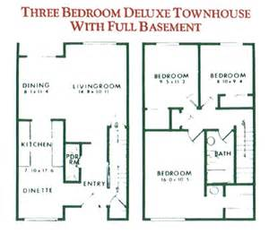 Three Bedroom Townhouse Floor Plans 3 Bedroom Deluxe Townhouse With Full Basement For Rent In
