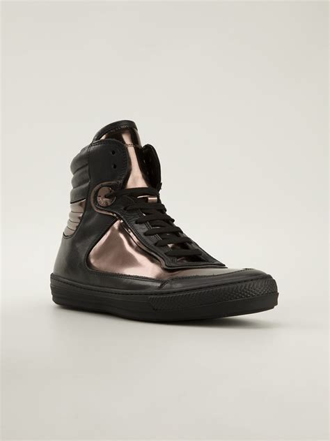 Diesel Black diesel black gold metallic hi top sneakers in black for lyst