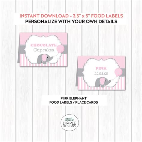 baby shower place cards template pink baby elephant printable buffet food labels