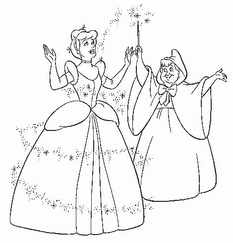 cinderella happy birthday coloring pages drawing fairy godmother and cinderella coloring child