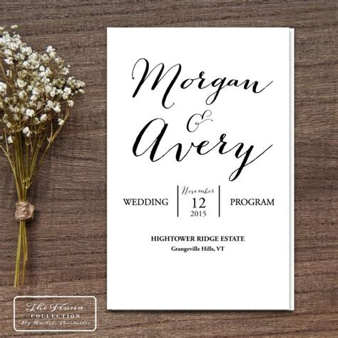 Wedding Program Book Cover by Printable Wedding Program Folding Booklet Four Pages