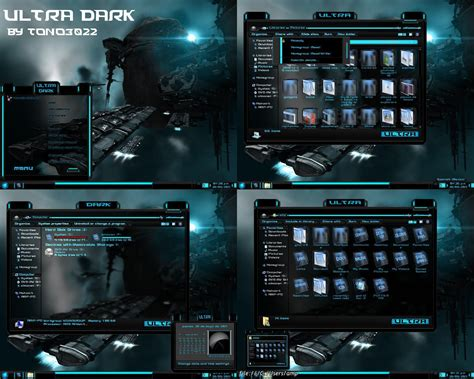 themes for windows 7 blue windows 7 theme blue glass ultra dark by customizewin7