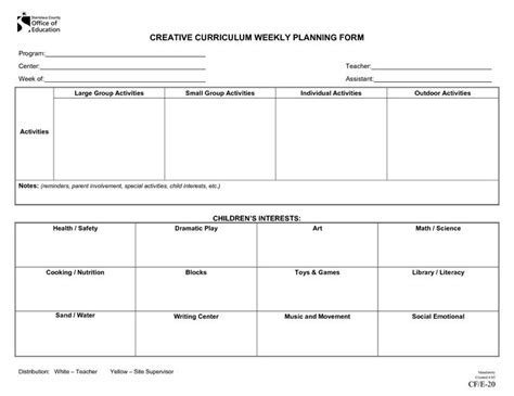 weekly lesson plan template for preschool emergent curriculum preschool lesson plan template