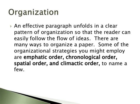 what pattern of organization does this paragraph follow process writing 2 drafting cccti