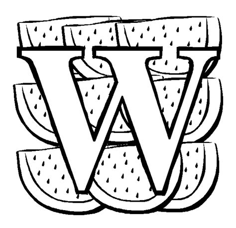 Coloring Page Letter W | free w is for watermelon coloring pages