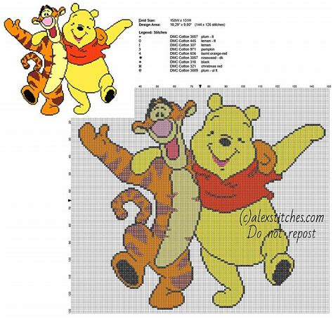 126 Best Images About Eeyore Winnie The Pooh And Tigger Friends Free Cross Stitch Pattern 144 X 126 Stitches 9 Dmc Threads