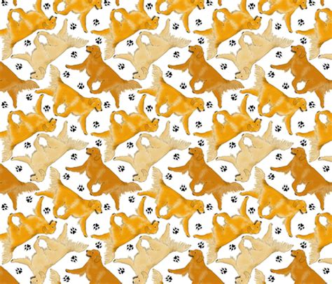 golden retriever paw print trotting golden retrievers and paw prints white fabric rusticcorgi spoonflower