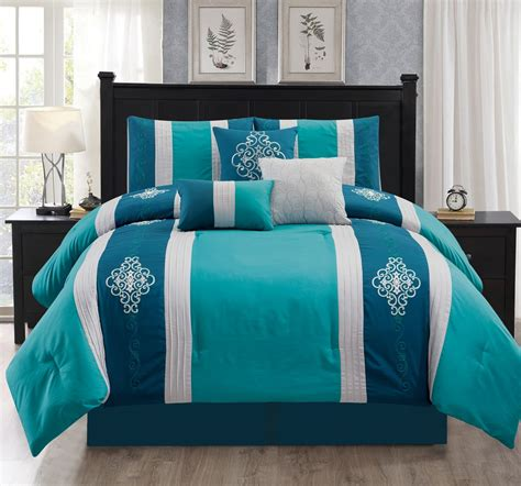 teal bed in a bag 11 piece embroidered scroll motif teal aqua bed in a bag set