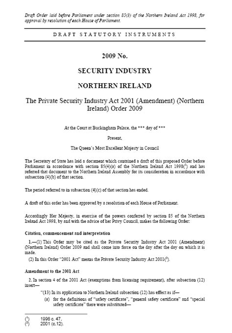 section 39 order justice and security northern ireland act 2007