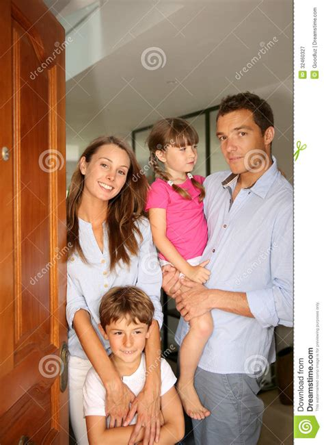 Family Door by Family Welcoming At Home Stock Image Image 32460327