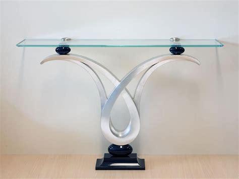 consolle in vetro per ingresso consolle con piano in vetro struttura finitura foglia