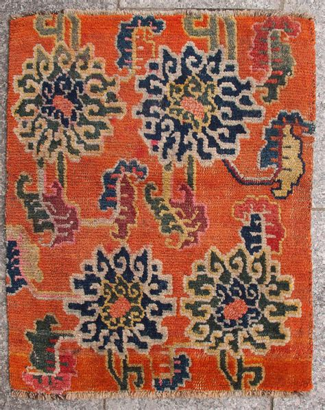 flower design rugs antique orange tibetan lotus flower design rug at 1stdibs