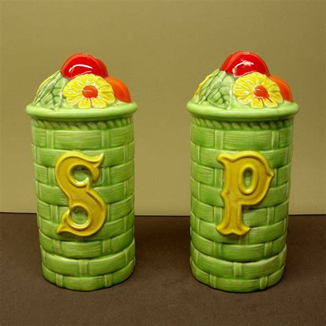 country style salt and pepper shakers green glaze basket weave country style salt and pepper shakers