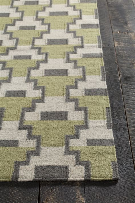 Grey And Green Area Rug Avon Collection Hand Woven Area Rug In Green Grey
