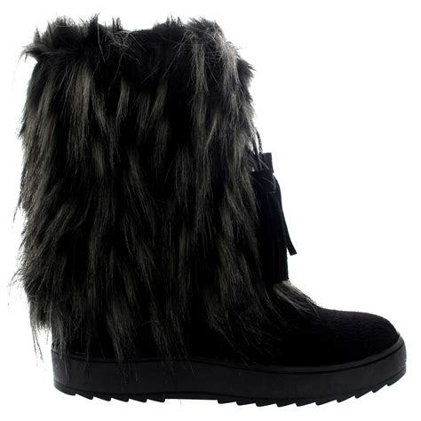 womens winter eskimo waterproof fur lined warm mid calf snow yeti boots us 5 12 ebay