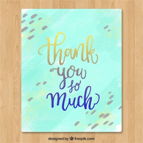 watercolor thank you card template watercolor thank you card vector free