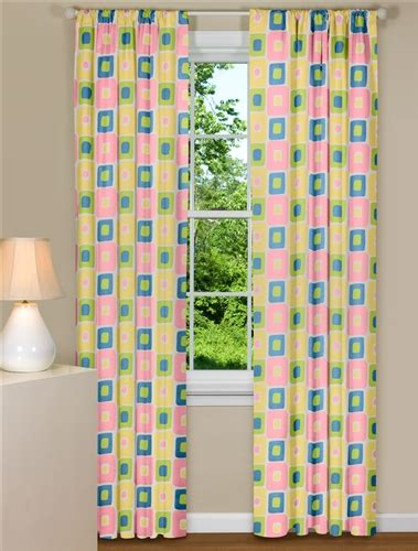 Pastel Coloured Curtains Decor Retro Style Curtain Panel With Pastel Colors