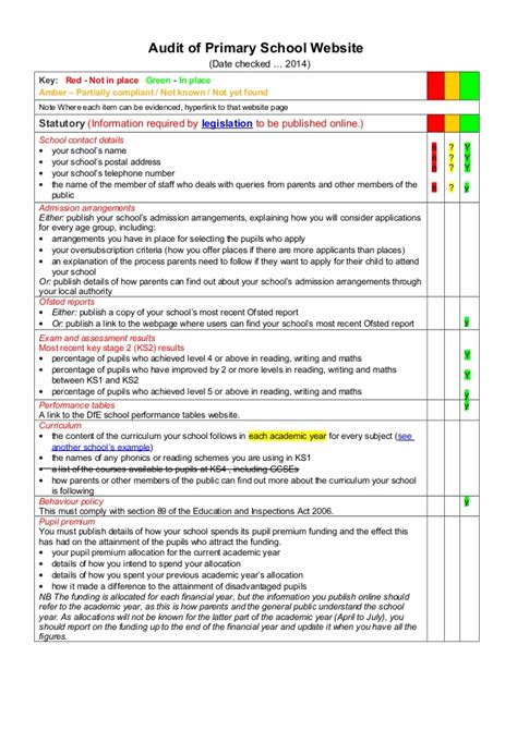 rag analysis template audit of primary school website rag check list template 1