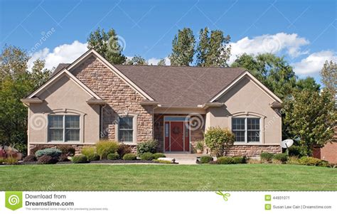 modest stucco house stock image image of