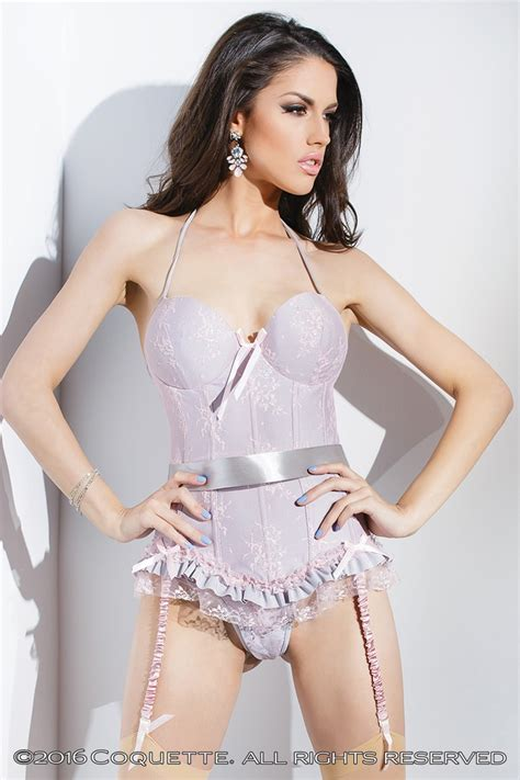 Bustier Tulang 4 Silver pink silver stretch lace satin lycra bustier