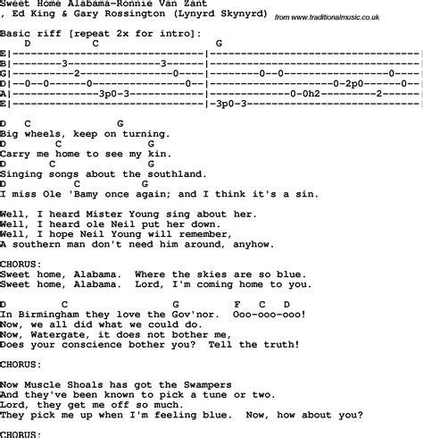 protest song sweet home alabama ronnie zant lyrics