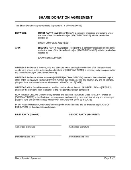 donation agreement template donation agreement template sle form