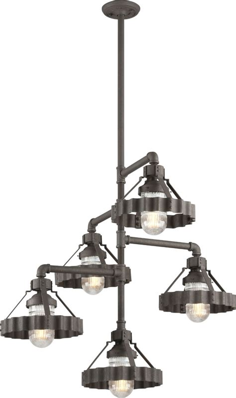 Nautical Chandeliers Troy F4247 Canary Wharf Nautical Burnt Chandelier