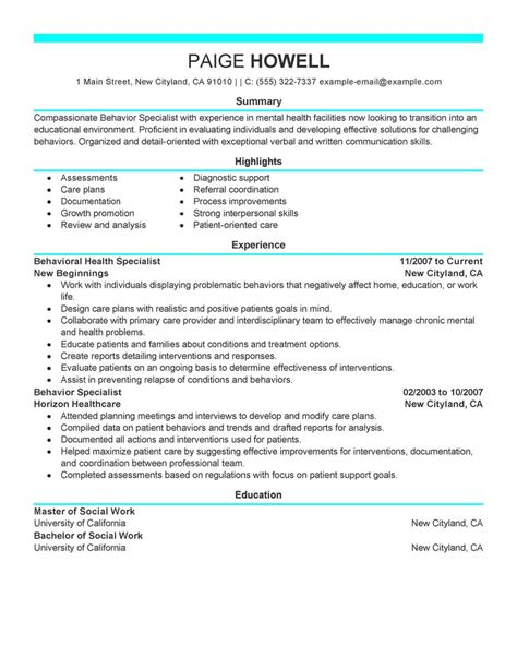 social services resume template best behavior specialist resume exle livecareer