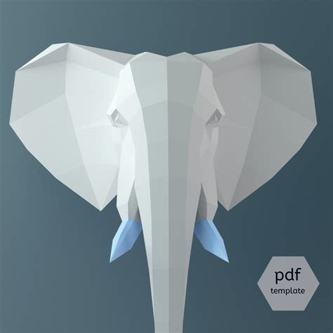 Paper Craft Elephant - big elephant 3d papercraft 3d template wall sculpture
