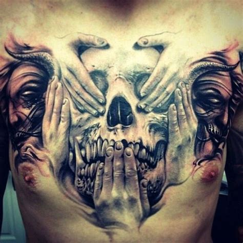 evil tattoo on hand see no evil hear no evil speak no evil hand and skull 3d